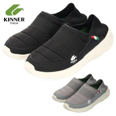 KINNER キナー スニーカー メンズ スリッポン MTK-005 1903N ライト アウトドア つま先撥水加工 ブラック グレー 軽量 クッション