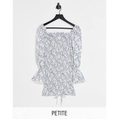 パリジャン Parisian Petite レディース ボディコンドレス タイト ワンピース・ドレス tie front bodycon dress in floral print ブルー/ホワイト