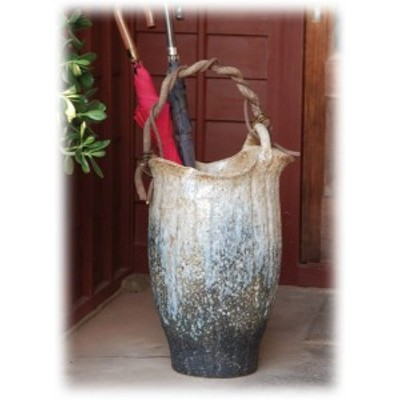信楽焼 陶器 傘立て 和風 モダン 洋風 壺 白 ホワイト 白窯変つる付傘立 高さ55.0cm
