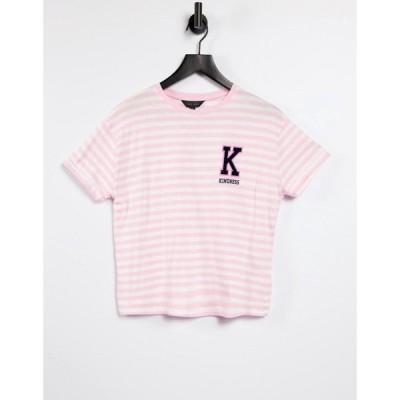 ニュールック New Look レディース Tシャツ トップス collegiate kindness slogan boxy t-shirt in pink stripe ブライトピンク