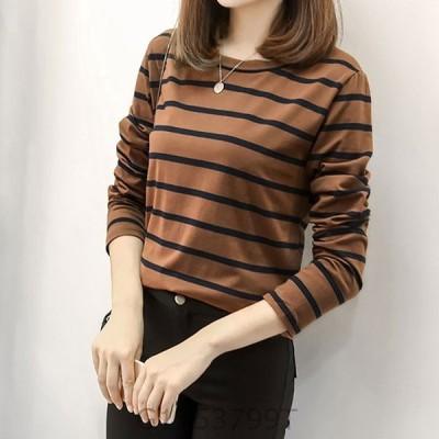 ボーダーロンTレディースtシャツ長袖トップスおしゃれカットソー秋冬春可愛いかわいいきれいめファッション大きいサイズ