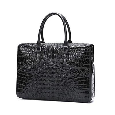 新品 Crocodile Men's Briefcase Genuine Leather Messenger Bag for Men ? 14 Inch Laptop Briefcase Men's Business Casual Bag (Color : Black)