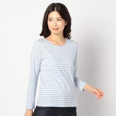 レディース 【在庫限り】婦人オーガニックボーダークルーネック長袖Tシャツ サックスブルー L