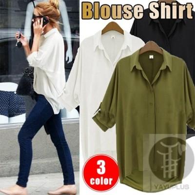 ブラウスシャツ エポレット付き シフォンシャツ レディース ブラウス トップス 透け感 ロングシャツ ゆったり 着痩せ 体型カバー ナチュラル 代引不可