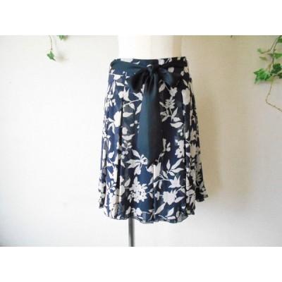 レストローズ LEST ROSE サッシュリボン付き シースルー 花柄 スカート 2