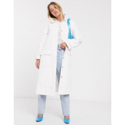 エイソス レディース コート アウター ASOS DESIGN contrast stitch aline trench coat in cream Cream