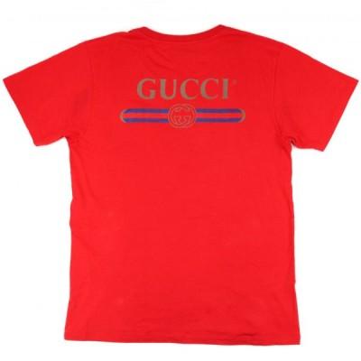 グッチ 18SS バックヴィンテージロゴ プリント 半袖Tシャツ メンズ 赤 S クルーネック コットン GUCCI