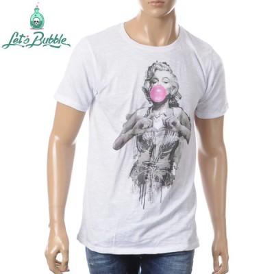 レッツバブル LET'S BUBBLE クルーネックTシャツ 半袖 メンズ HEART ホワイト