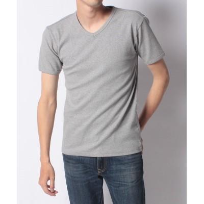 【Amerikaya】 アヴィレックス テレコリブ Vネック 半袖 Tシャツ メンズ グレイ M Amerikaya