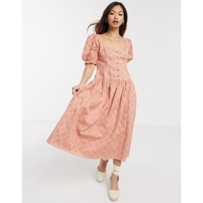エイソス レディース ワンピース トップス ASOS DESIGN button through broderie midi dress in dusky pink Dusky pink