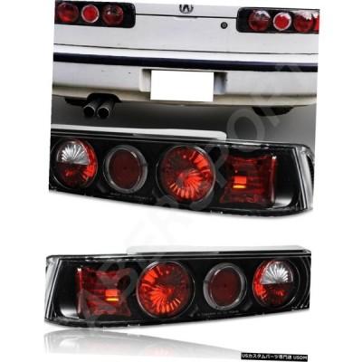 Tail light 1990-1993 Acura Integra 2drのHaloリム付きペアブラックハウジングテールライトセット  Set of