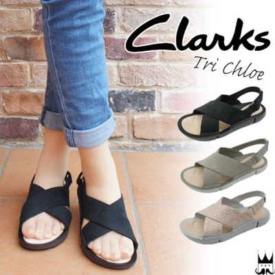 クラークス Clarks レディース クロスベルト サンダル 244G 本革 バックバンド ベルクロ 黒 ブラック グリーン メタリック