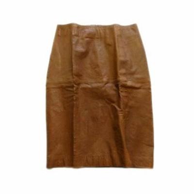 【中古】バジーレ BASILE 28 レザー タイト スカート 膝丈 羊革 40 茶 ブラウン レディース♪1