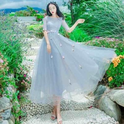 フラワー刺繍 シースルー ワンピース ドレス 結婚式 2次会