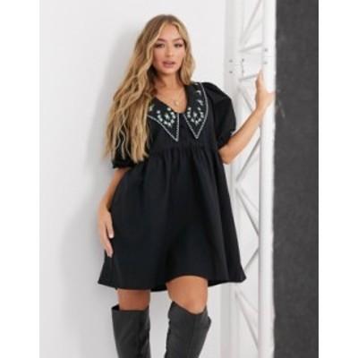 エイソス レディース ワンピース トップス ASOS DESIGN cotton button through mini smock dress with embroidered peter pan collar in