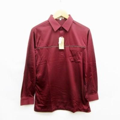 【中古】未使用品 PIERRE DUNE シャツ 長袖 プルオーバー L ワインレッド 赤系 ●39  メンズ
