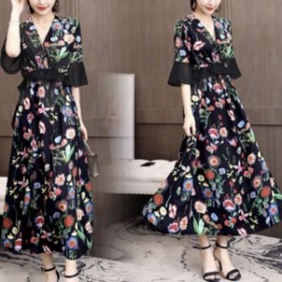 ドレス ワンピース パーティードレス 結婚式 40代 30代 ロング 袖あり 半袖 韓国風 大きいサイズ フォーマルドレス 花柄ワンピース お呼