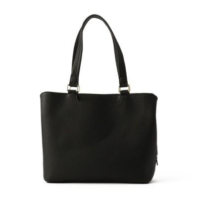レディース 在庫限り セブンプレミアムライフスタイル <KiREi>SAC婦人合成皮革前ポケット付きトートバッグ ブラック フリー