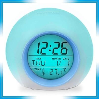 目覚まし時計 HAMSWAN デジタル時計 大音量 卓上 自然音 見やすい 丸いアラームクロック 目覚まし7色LEDライト ア