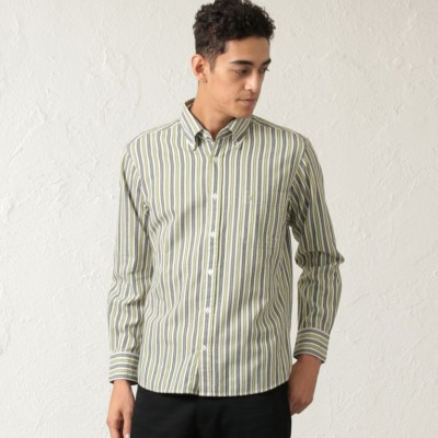綿ウールストライプシャツ
