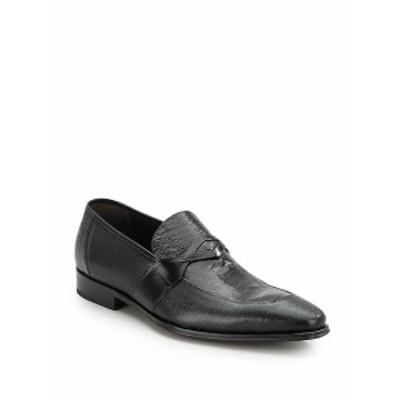 メズラン メンズ シューズ ローファー Embossed Leather Loafers