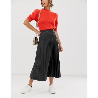 エイソス レディース スカート ボトムス ASOS DESIGN leather look pleated midi skirt