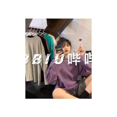 ピュアカラーシンプル刺繍オールマッチラウンドネックプルオーバー長袖TEE