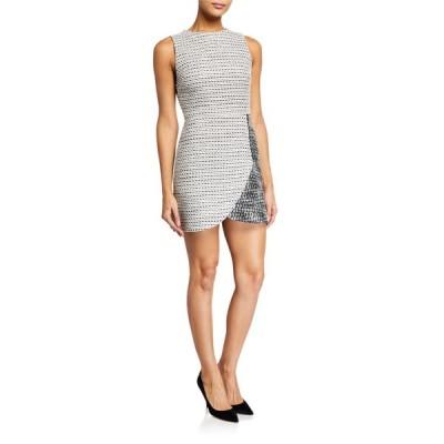 アリス アンド オリビア レディース ワンピース トップス Sally Side-Zip Tweed Mini Dress