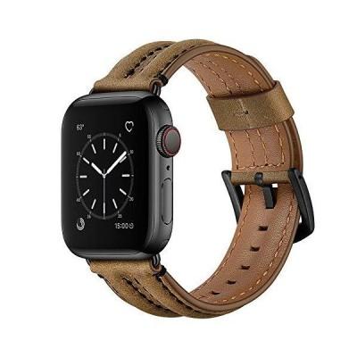 Hepsun 本革ビンテージレザースポーツバンド Apple Watchバンド 38mm 40mm 防汗 レトロ 交換用時計ストラップ iWatch