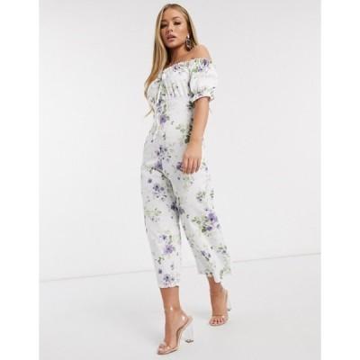 ミスガイデッド レディース ワンピース トップス Missguided bardot jumpsuit in floral print