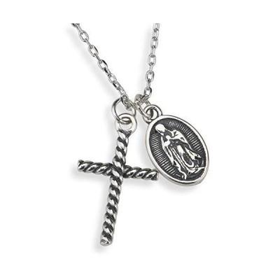 「silverKYASYA」シルバー925 聖母マリア コインネックレス 奇跡のメダイ クロスネックレス 925 マリアネックレス