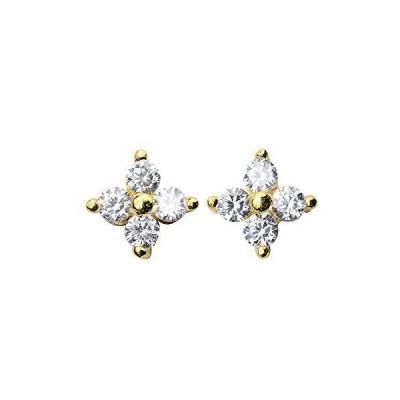 Richight 純銀製シンプルな四つ葉のCZフラワーダイヤミニピアス、sv925かわいいミニゴールデン小さなお花スタッドピアス、イヤリング