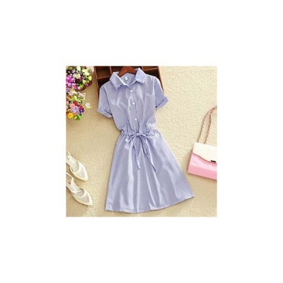 ワンピース きれいめシンプル&ウエストリボン&半袖シャツ/3色 us-0205