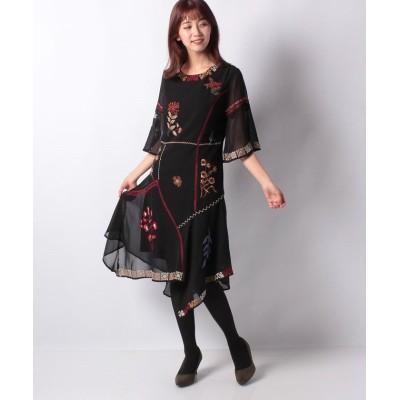 【デシグアル】 WOMAN WOVEN DRESS 3/4 SLEEVE レディース ブラック系 44 Desigual