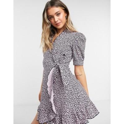 トップショップ レディース ワンピース トップス Topshop animal print wrap mini dress in pink