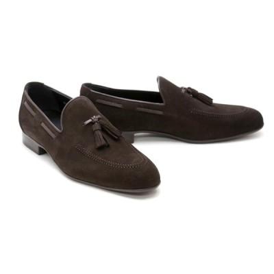 メンズ ローファー カジュアル ブラウン 革靴 本革 クインクラシコ ドレスシューズ 88011dbr ダークブラウン(茶色) スエードタッセルローファーラバーソール