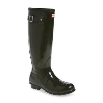 ハンター レディース ブーツ&レインブーツ シューズ Original High Gloss Waterproof Boot DARK OLIVE
