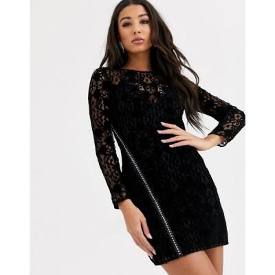 エイソス ASOS DESIGN レディース ワンピース ミニ丈 ワンピース・ドレス lace mini dress with embellished diamante zip detail ブラック