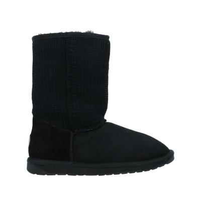 エミュー EMU ショートブーツ ブラック 6 リアルファー / ウール ショートブーツ