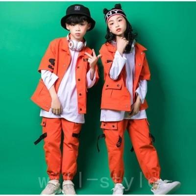 HIPHOPキッズダンス衣装ヒップホップセットアップダンス衣装男の子女の子シャツパンツジャズダンスB系ダンスパンツ体操服