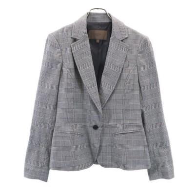 美品 グレンチェック テーラードジャケット EUR40 グレー CORTEFIEL レディース 古着 210319