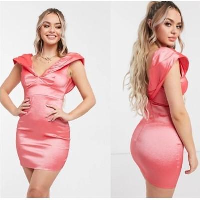 ボディコン プランジネック エイソス ドレス ASOS / Club L ギャザーパフスリーブミニドレス