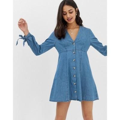 エイソス レディース ワンピース トップス ASOS DESIGN denim tea dress with tie sleeve midwash blue