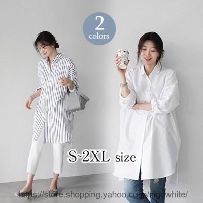 シャツ ブラウス 40代 レディース 春夏 長袖 韓国風 トップス 白 大きいサイズ オフィス きれいめ 50代 30代 オシャレロング丈 大人
