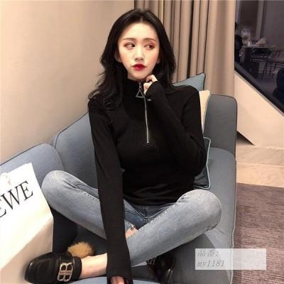 2020 韓国風 韓風 ピッタリ ボス ファスナー 編み物 シャツ レディース 西洋式 スリム 黒