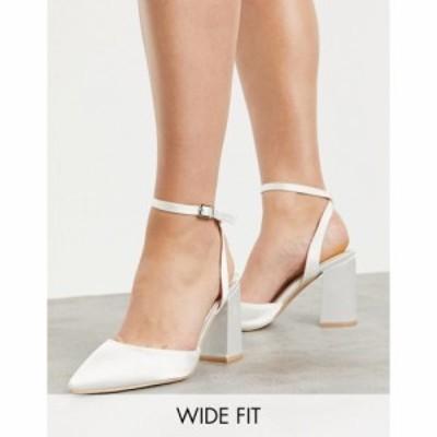 ビーマイン Be Mine Wide Fit レディース ヒール シューズ・靴 Be Mine Bridal Wide Fit Neima Block Heeled Shoes In Ivory Satin アイ