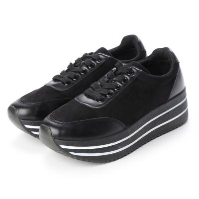 マシュガール masyugirl 【幅広ゆったり・大きいサイズの靴】 ミックスカラーソールの厚底スニーカー (ブラック) SOROTTO