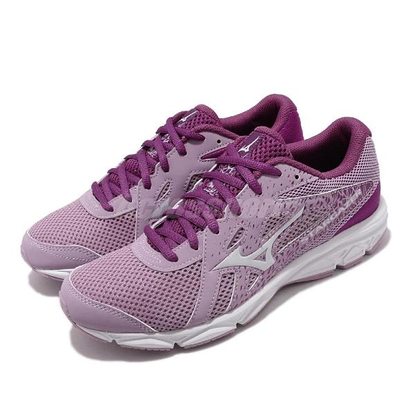 Mizuno 慢跑鞋 Stargazer 2 寬楦 紫 白 女鞋 運動鞋 【ACS】 K1GA2051-60
