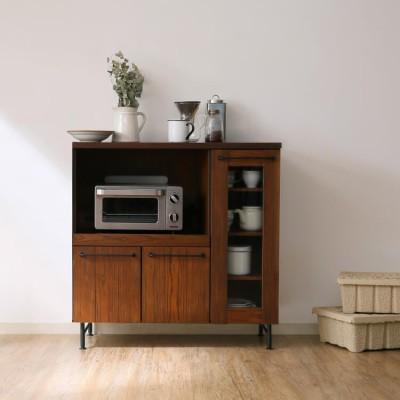 [幅89] 食器棚 ミドルタイプ キッチン収納 ヴィンテージ風 選べる3タイプ キャビネット