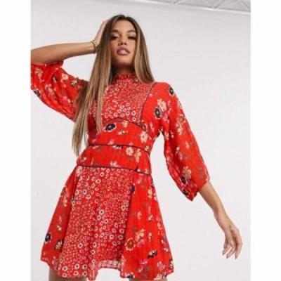 エイソス ASOS DESIGN レディース ワンピース ワンピース・ドレス high neck mini dress in mixed floral print